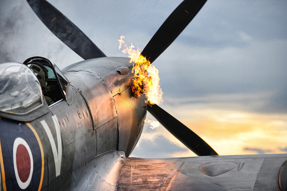 Spitfire TE311 of the RAF Battle of Britain Memorial Flight performs a 'hot start'