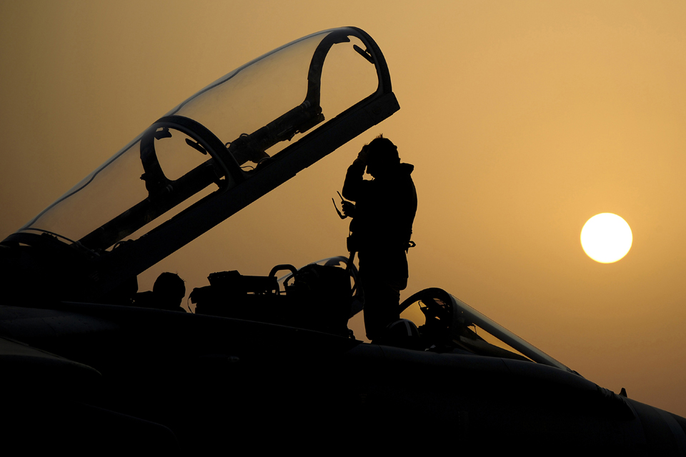 31 Squadron Tornado GR4 pilot silhouetted against the sun