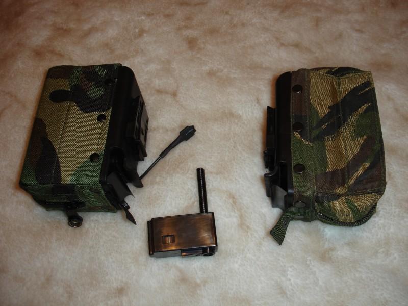 Страйкбольный короб для пулемета MAG (слева) и реальный боевой короб (справа)