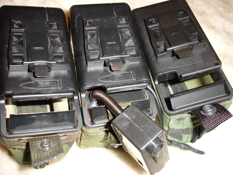 Слева реальный боевой короб для пулемета, по центру — старйкбольный MAG внутри корпуса реального, а справа непеределанный страйкбольный MAG